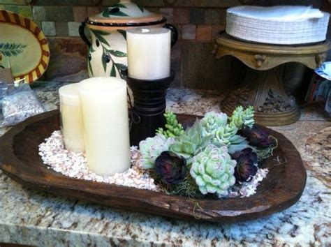 New silver tray table centerpiece coffee table tray dining table home decor gift. Living Room centerpiece using wooden dough bowl, silk succulents, candles at varying heights ...
