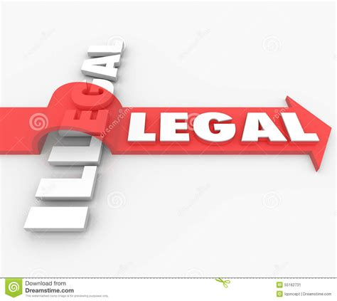 Legal Vs Illegal Law Red Arrow Over Word Guilty Or