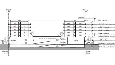 Basement Parking Section by Socketsite Plans For A 265 Unit Building Near Oakland S