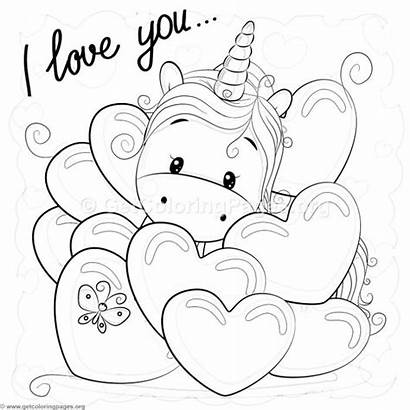 Unicorn Coloring Pages Valentine Coloringbook Instant Pinu