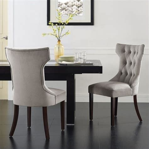 tufted dining chair in taupe set of 2 da6090 coc