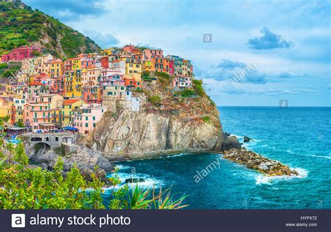 italy colorful houses colorful houses in manarola cinque terre italy stock