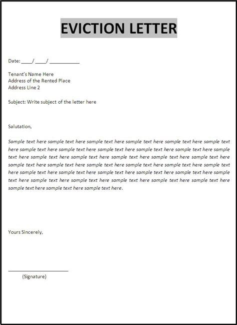 eviction letters  word templates