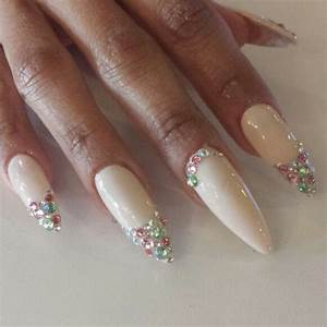 Pink Stiletto Nails With Rhinestones | www.imgkid.com ...