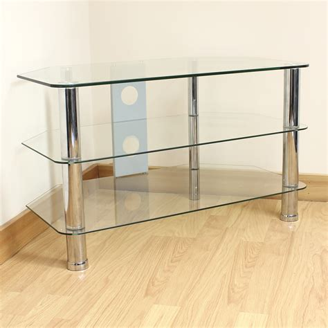 3 shelf tv stand hartleys clear glass 3 tier corner led lcd plasma tv stand