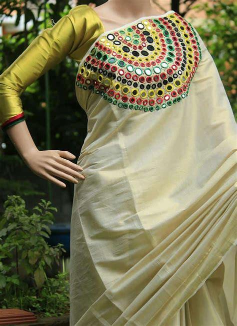mirror work designer kerala saree simple
