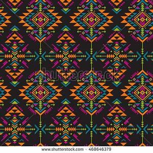 Neon Aztec Geometric Print Seamless Vector Stock Vector