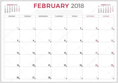 february  calendar planner design template week