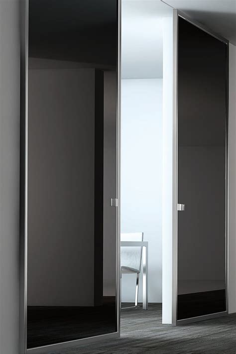 black lacquer glass panel door stainless steel