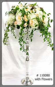 Silver Candelabra 35 inch tall with plate for flowers