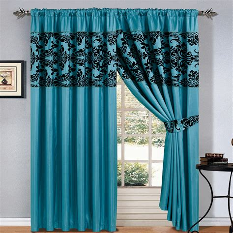 teal and black curtains luxury damask curtains pair of half flock pencil pleat