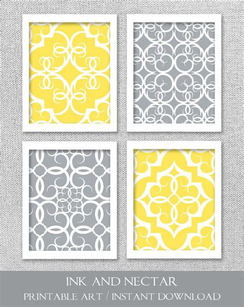 Yellow And Gray Wall Decor by Printable Gray And Yellow Instant By