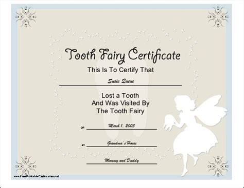 printable tooth fairy certificate tooth fairy