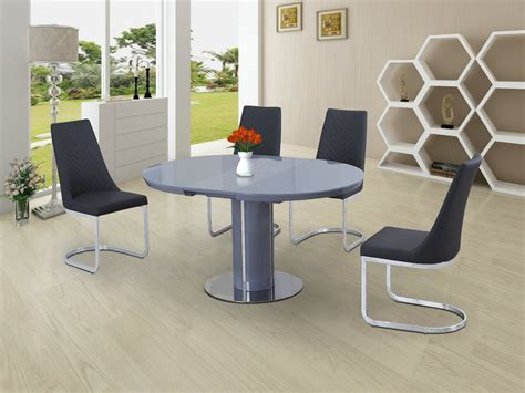 dining table with grey chairs round grey glass high gloss dining table and 4 chairs set