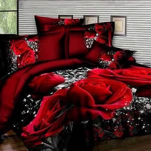 3d, Red, Rose, Bed, Sheet, Set, 4