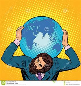 Atlas Businessman Holds The Earth On His Shoulders Stock ...