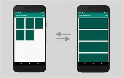 Recyclerview Grid Android Transition Animated Between Layouts