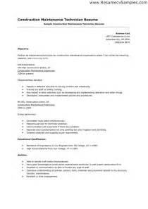 resume objective exles building maintenance pdf curriculum vitae maintenance technician