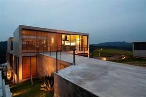 Hillside, House, With, 2, Concrete, Volumes, 2nd, Story, Entrance, Bridge