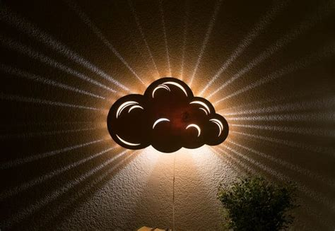 cloud night light wooden wall hanging bedside lamp kid