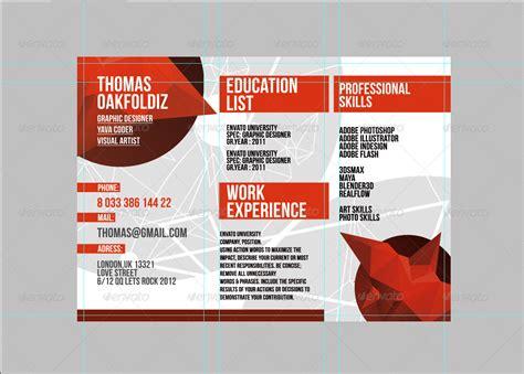 red trifold resume template  iqdiz graphicriver