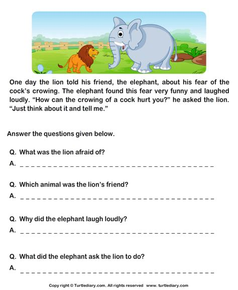 read comprehension lion and cock and answer the questions