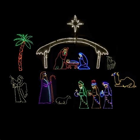 Outdoor Lighted Nativity by Led Outdoor Decorations Lighted Commercial