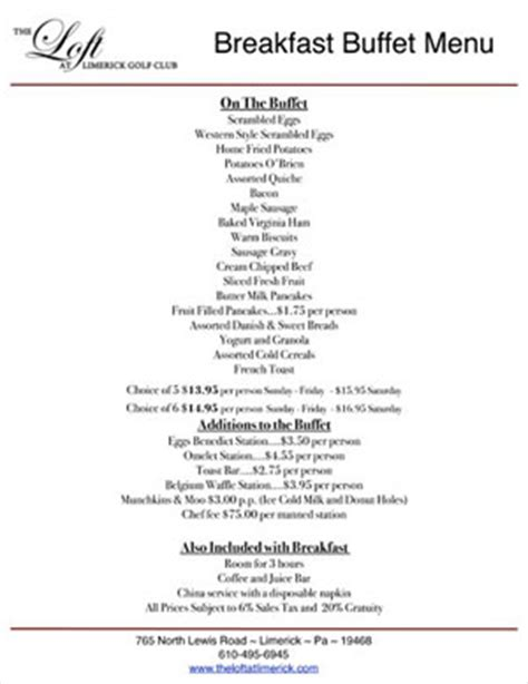 brunch buffet menu loft at landis creek premier banquets receptions event venue
