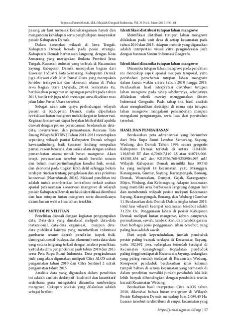 Identifikasi Dinamika Spasial Sumberdaya Mangrove di
