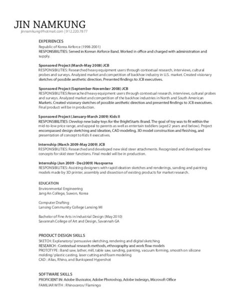 Industrial Design Student Resume by Jin Namkung Resume By Jin Namkung At Coroflot