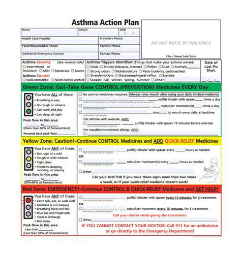 forms of asthma asthma action plan template 13 free sle exle