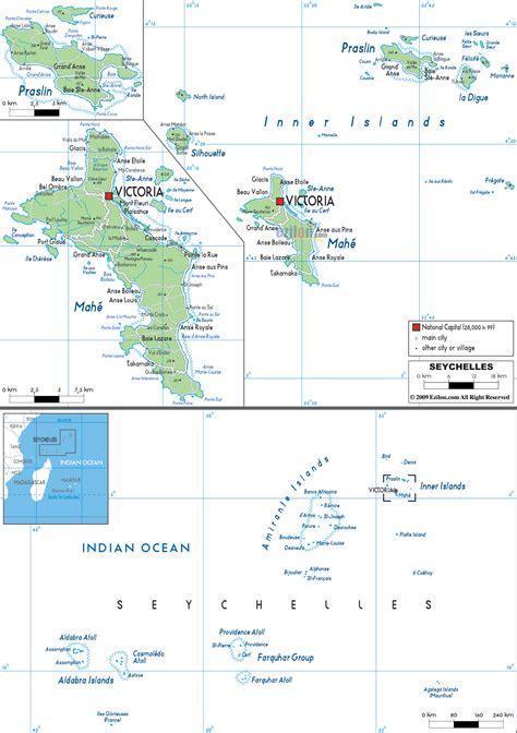 detailed political map  seychelles ezilon maps