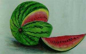 How to draw step by step , A Watermelon - soft pastel ...