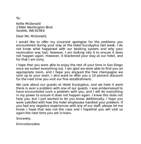 hotel apology letter    documents