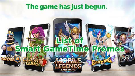 List Of Smart Gametime Promos, Play Mobile Legends, Aov