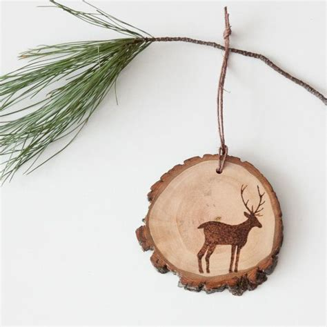 rustic wood slice ornament  burned deer silhouette