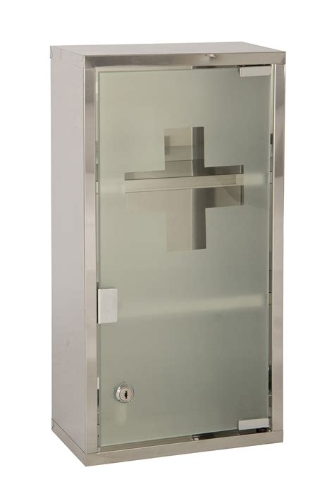 wall mounted lockable 2 large medicine cabinet aid box glass door ebay