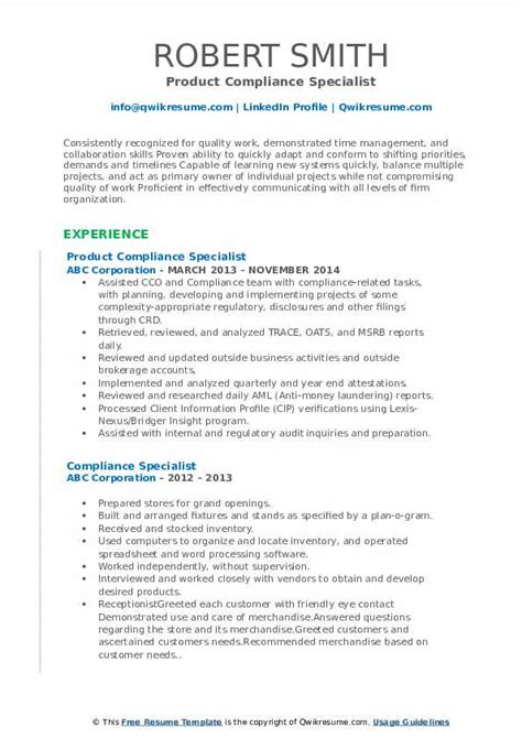 compliance specialist resume samples qwikresume