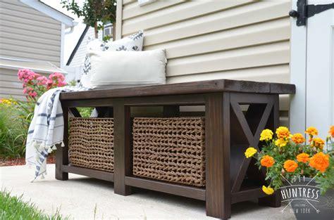 diy rustic  bench  woodworking plans diy huntress