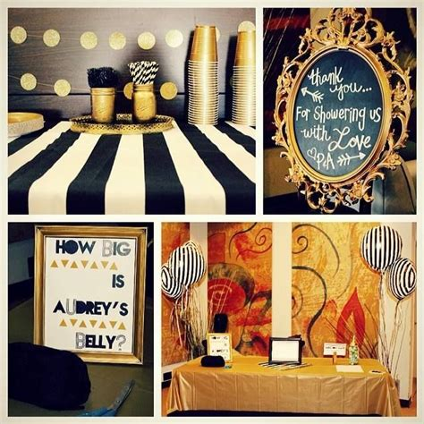 diy black white and gold baby shower party ideas