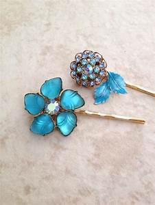Vintage Teal Hair Pins Floral Flower Pair Hair