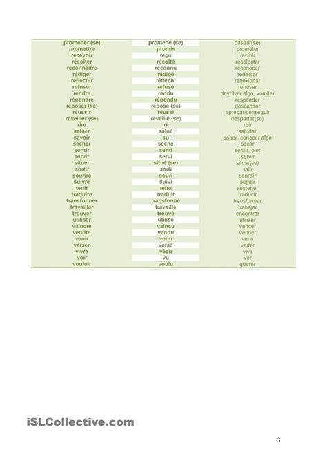 traduction chambre espagnol liste de verbes avec leurs participes et traduction en