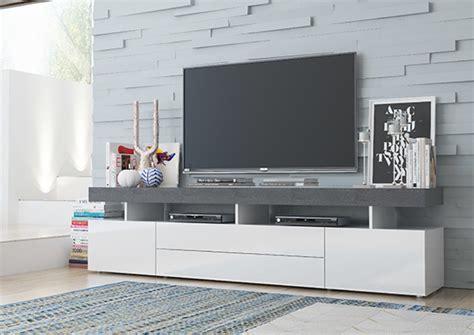 Meuble Tv Treviso Blanc /gris Béton