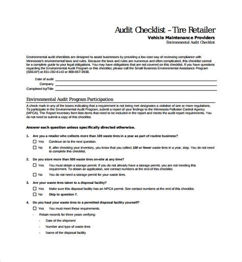 audit checklist templates   ms word