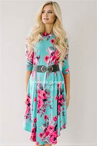 teal pink gray spring floral pocket modest dress best With church dresses online