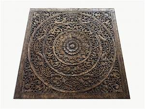 Grand carved teak wood wall art panel plaque decor siam
