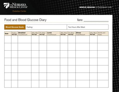 diabetic food diary template printable food  blood