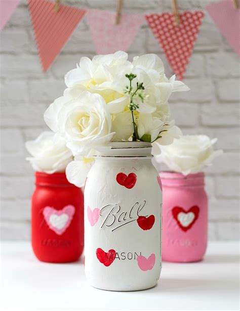 jar craft valentine kid craft thumbprint heart jars it all started with paint