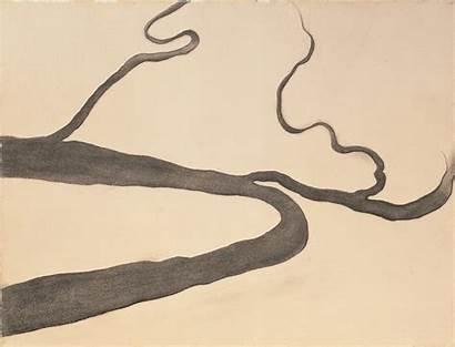 Keeffe Georgia Charcoal Drawing Letters India Museum