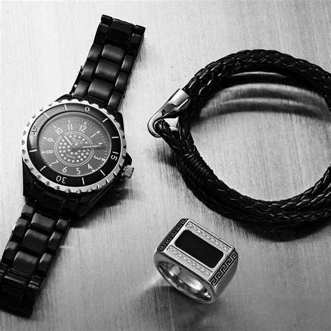 Black Onyx Color Greek Key Stainless Steel CZ Mens Ring